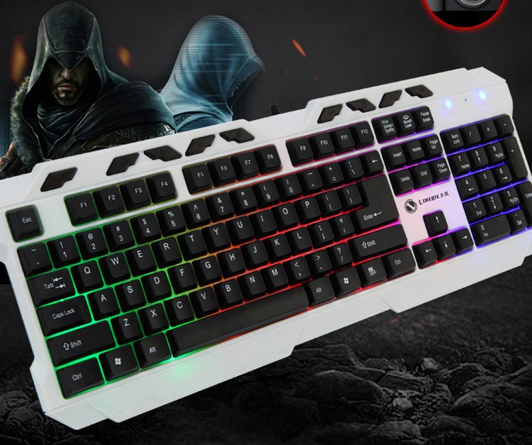 Mechanical Feel Colourful Backlight Keyboard Wired Keyboard For PC Laptop