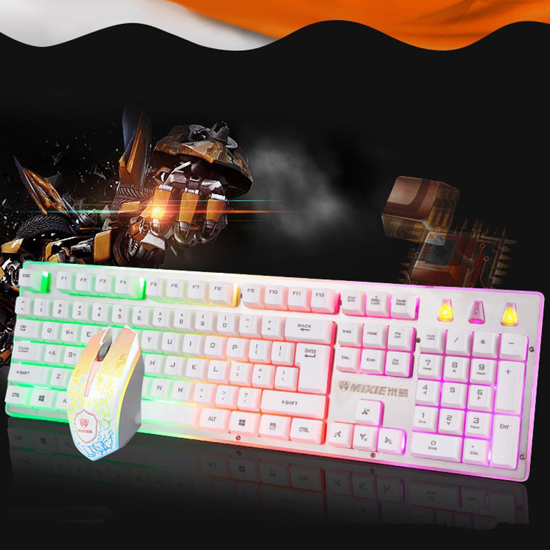 Suspension Keycap Luminous Gaming Keyboard and Mouse Set For PC Laptop X4000