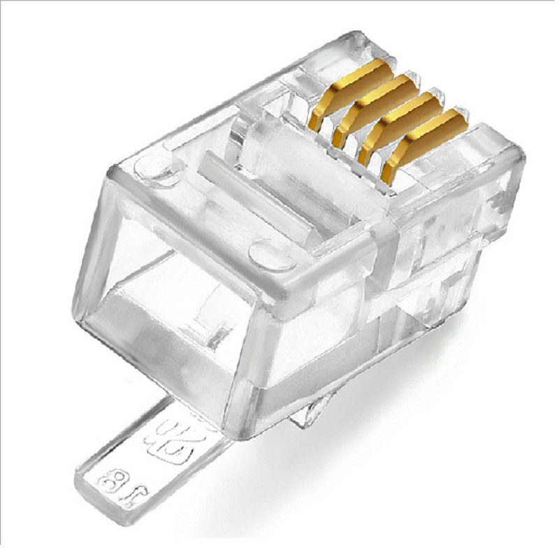 Four Core Crystal Head RJ12 4P4C Modular Plug Gold Plated Network Connector