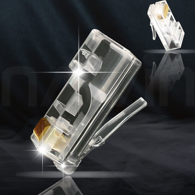 Unshielded Cable Modular Plug Terminals 8P8C Gold-Plated Copper Shell Network Connectors