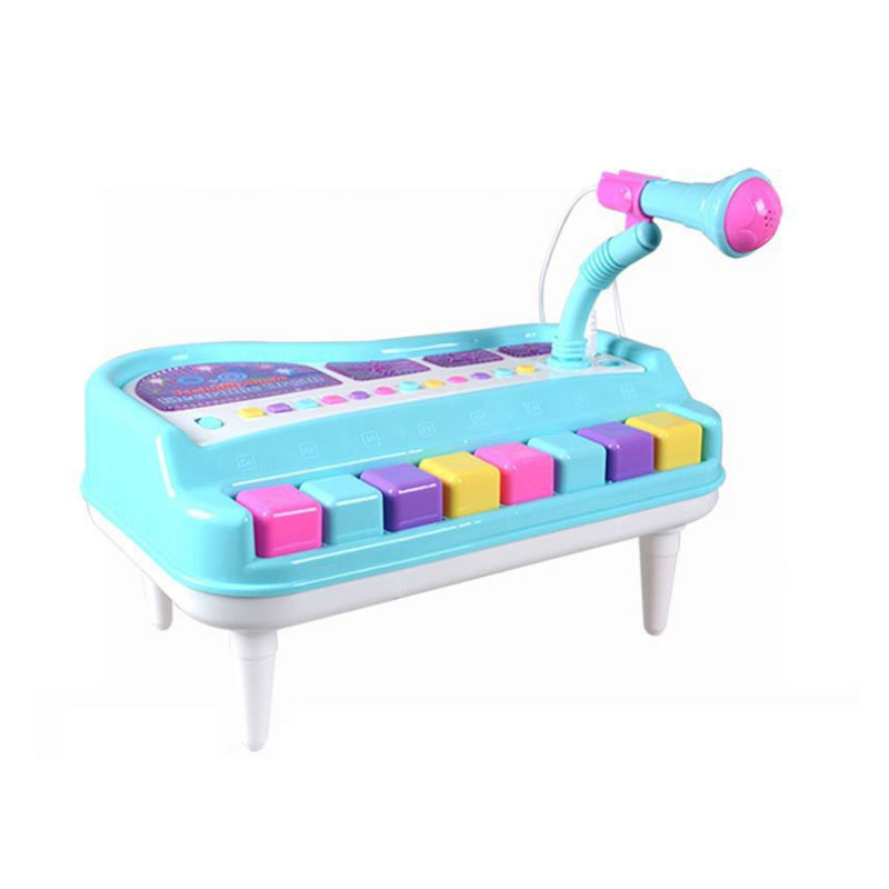 8 Keys Electone Mini Electronic Keyboard Musical Toy with Microphone Educational Piano Toy for Children