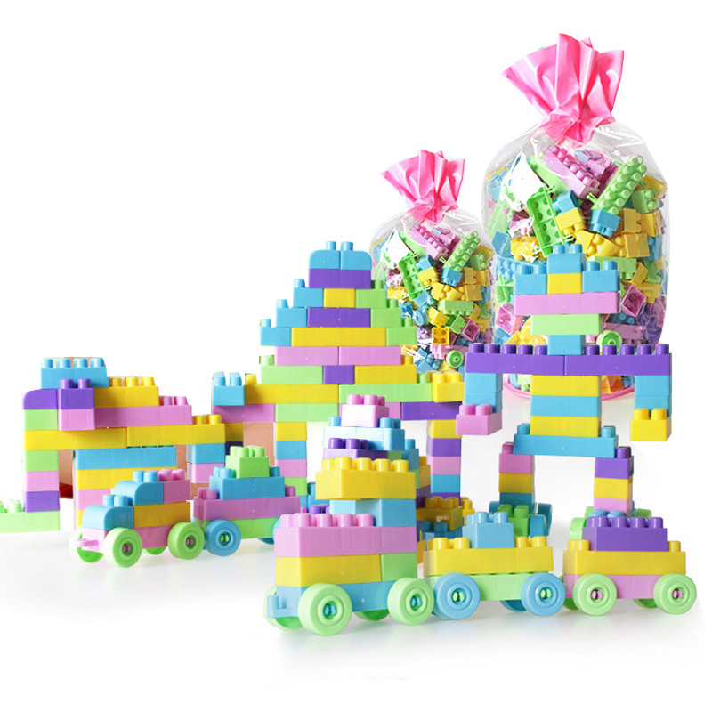 100-200 Pcs Building Blocks Child Plastic Assembled Building Blocks Educational Toy