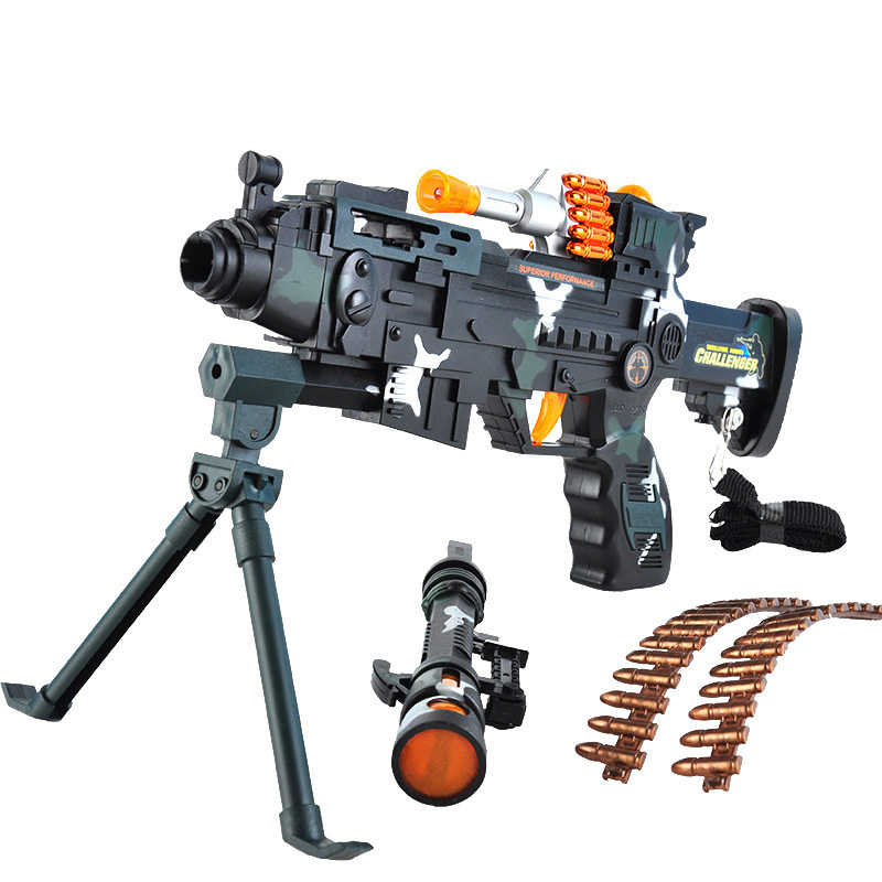 56cm Long Toy For Kids Military Assault Machine Guns With Sound Flashing Lights