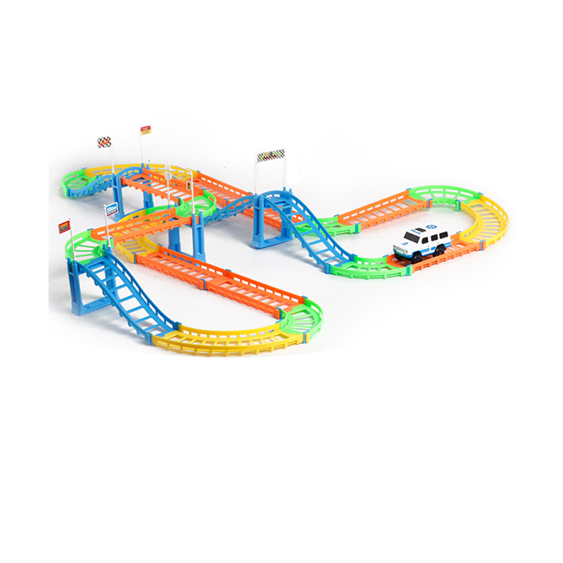 Track Racer Electric Battery Powered Rail Car DIY Toy Set for Children
