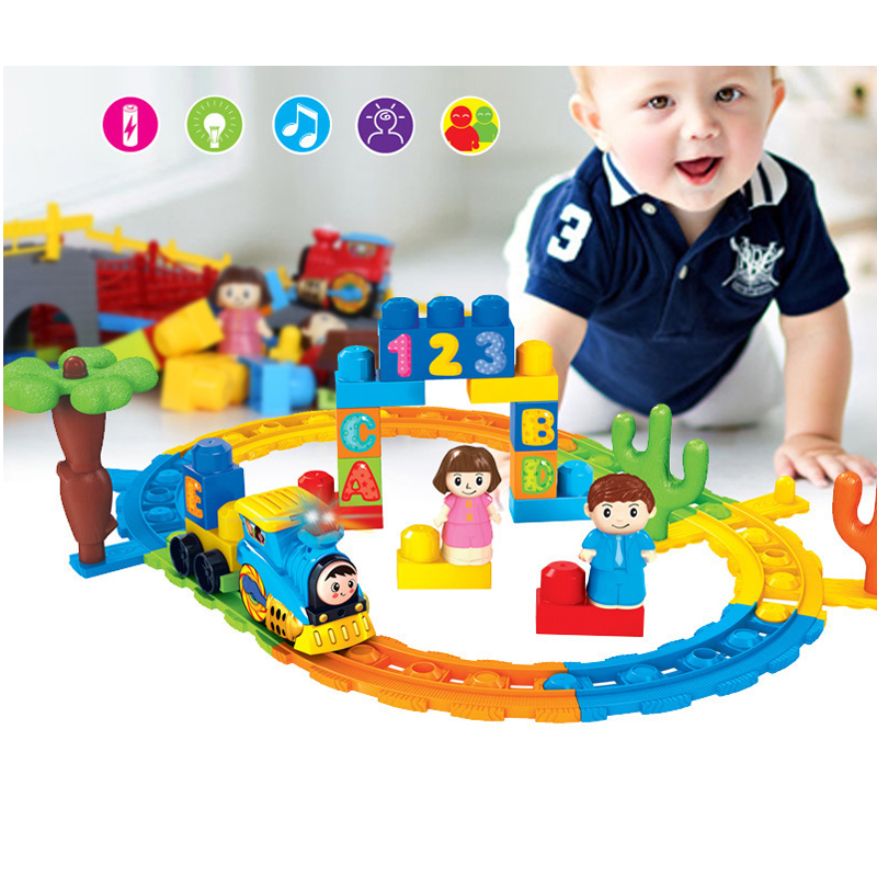 Music Train Track Electric Rail Car Toys Educational Toys for Children