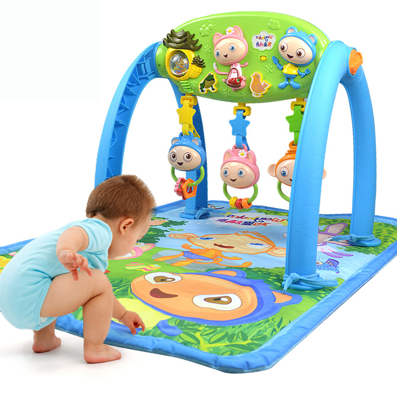 Baby Soft Play Mat Game Cartoon Educational Fitness Rug Music Gym Blanket