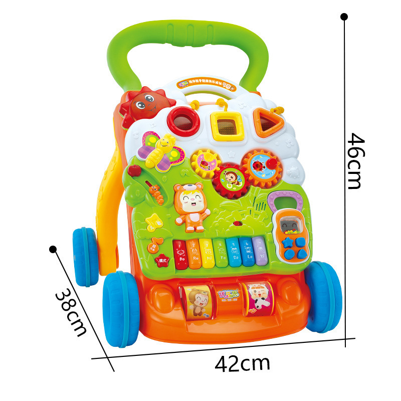 Multifunctional Handcart Walker with Music Lighting Baby Hand Push Toy