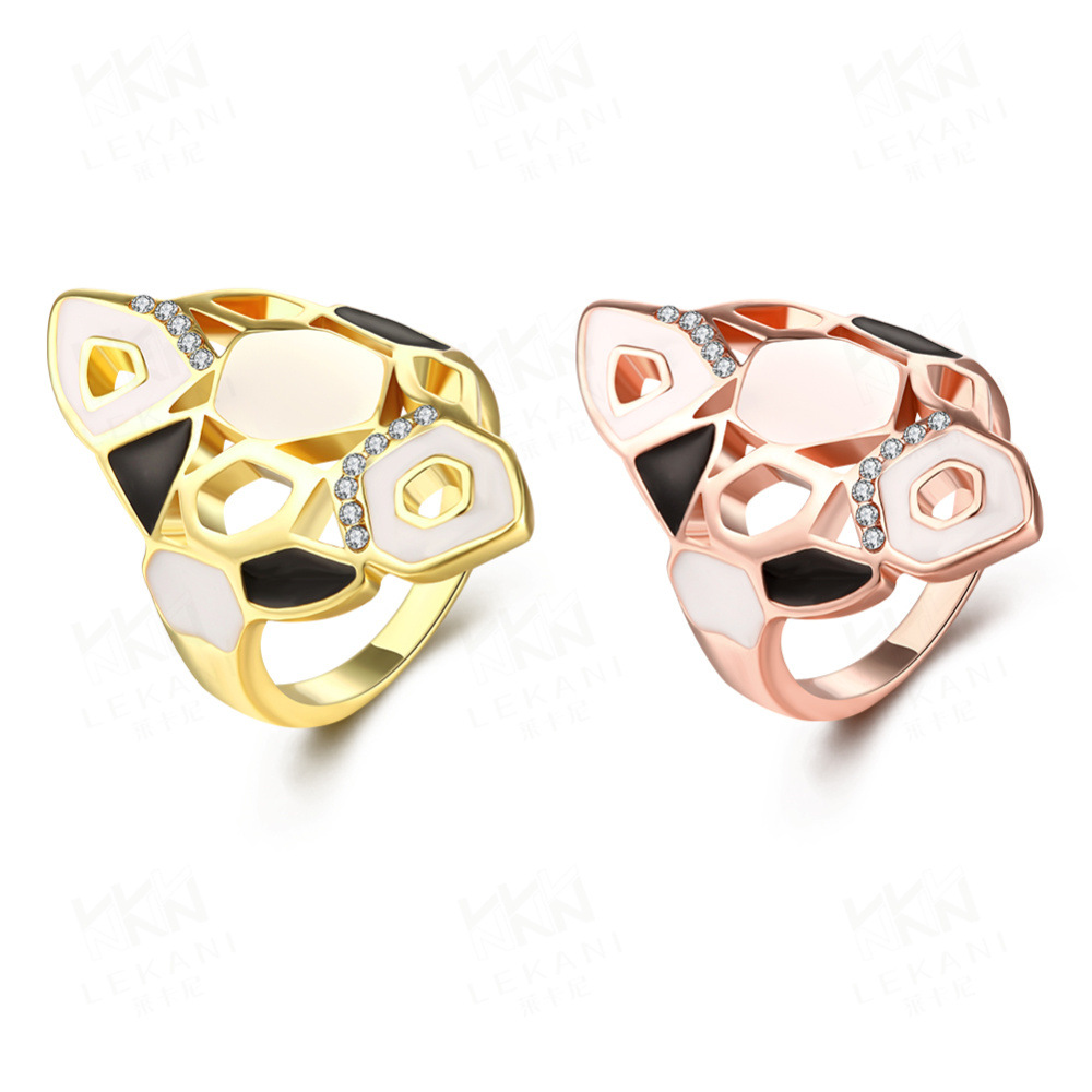 New Fashion Brass Zircon Rose Gold Plated Rings Creativity for Women