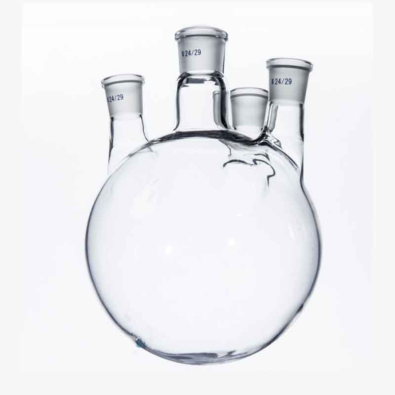 3000ml/29*24*24*14 Round Bottom Glass Flask,Four NeckS,3L Lab Boiling Bottle