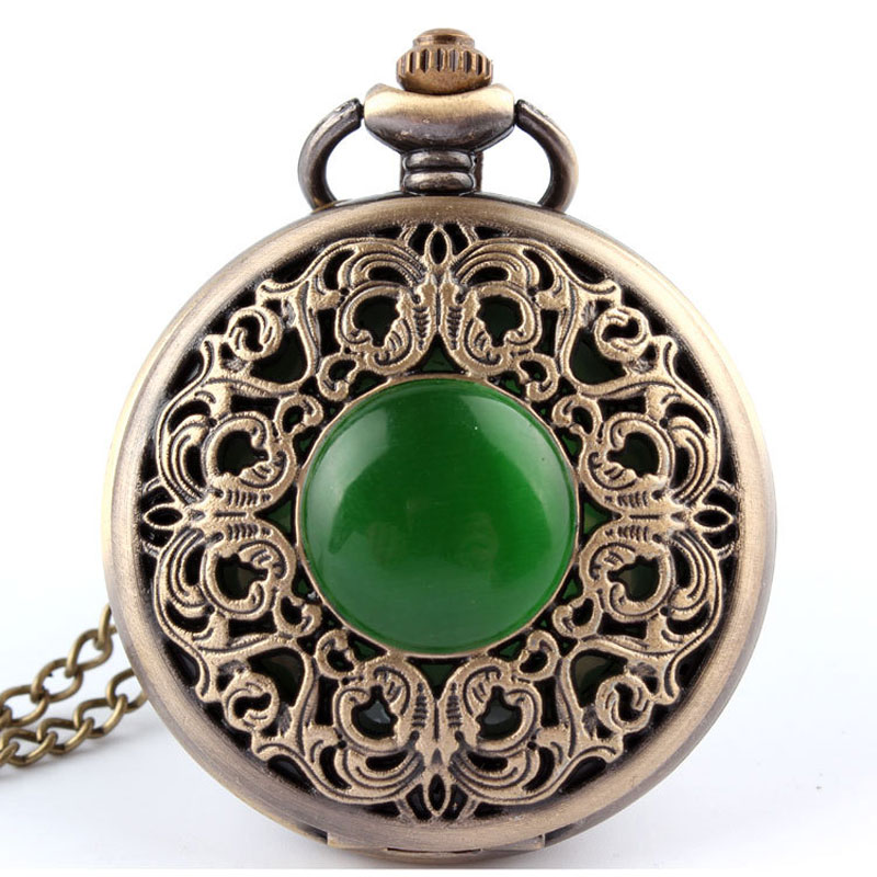 Bronze Antique hollow imitation jade stone Necklace Quartz Pocket Watch