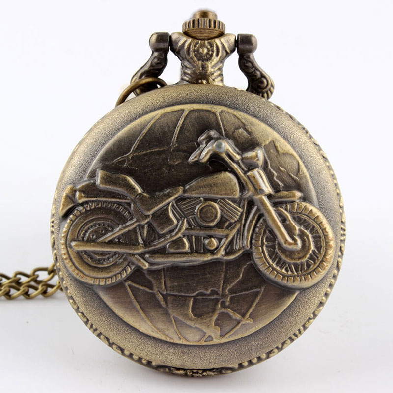 Bronze Motorcycle Pocket Watch Necklace Pendant