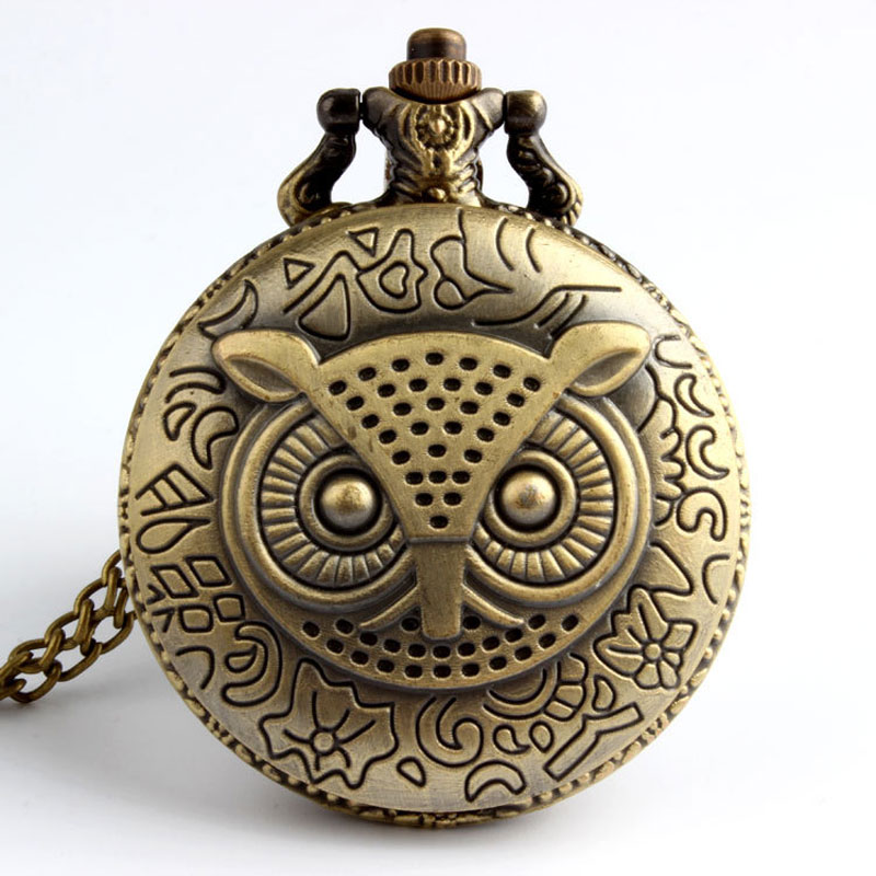 Bronze Antique Night Owl Quartz Pocket Watch