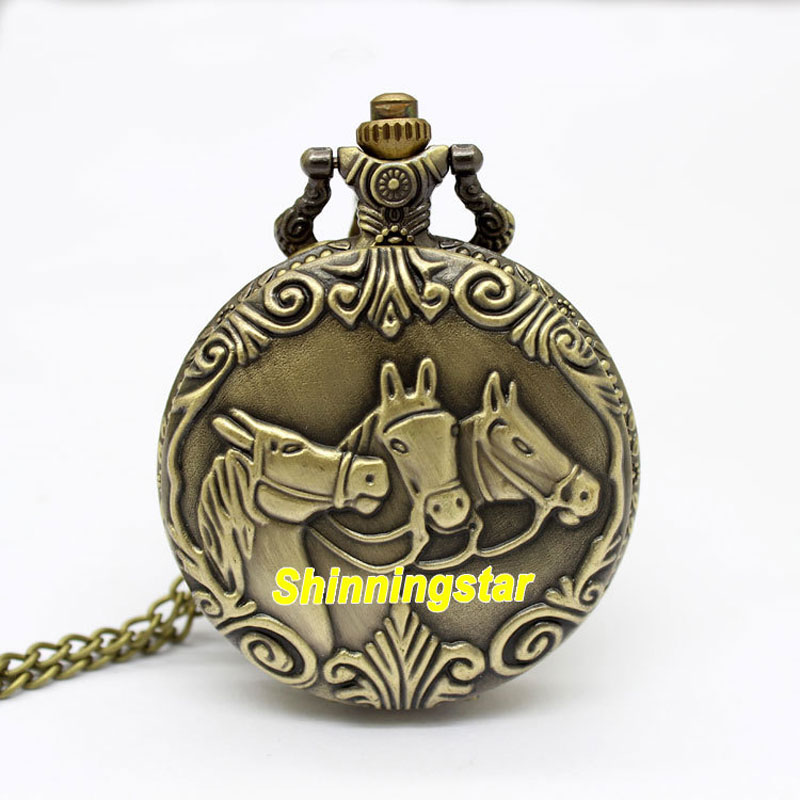 Antique Style Three Little Horse Quartz Pocket Watch