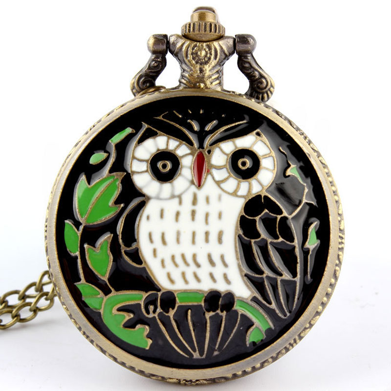Vintage Classic New Bronze Colorful Enamel Owl Pocket Watch