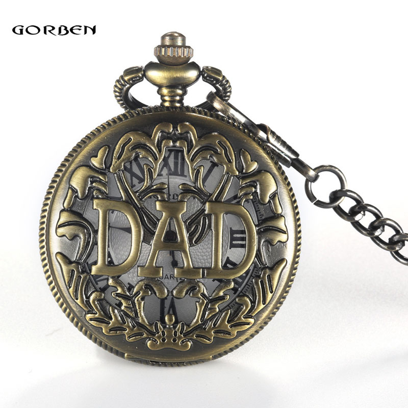 Vintage DAD Hollow Out Pocket Watch Necklace