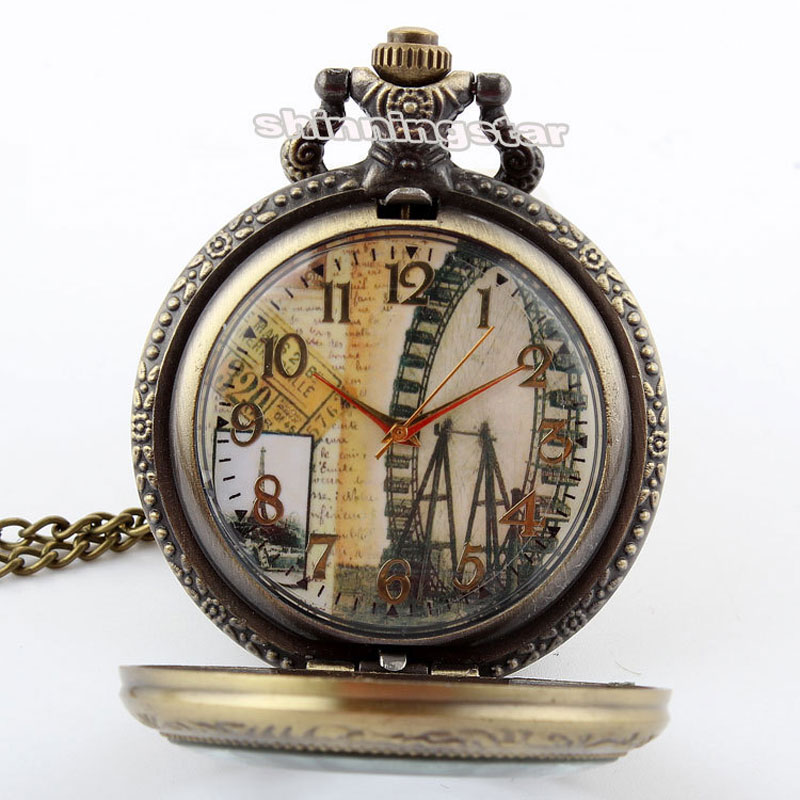 Bronze Vintage Ferris wheel Pocket Watch Necklace