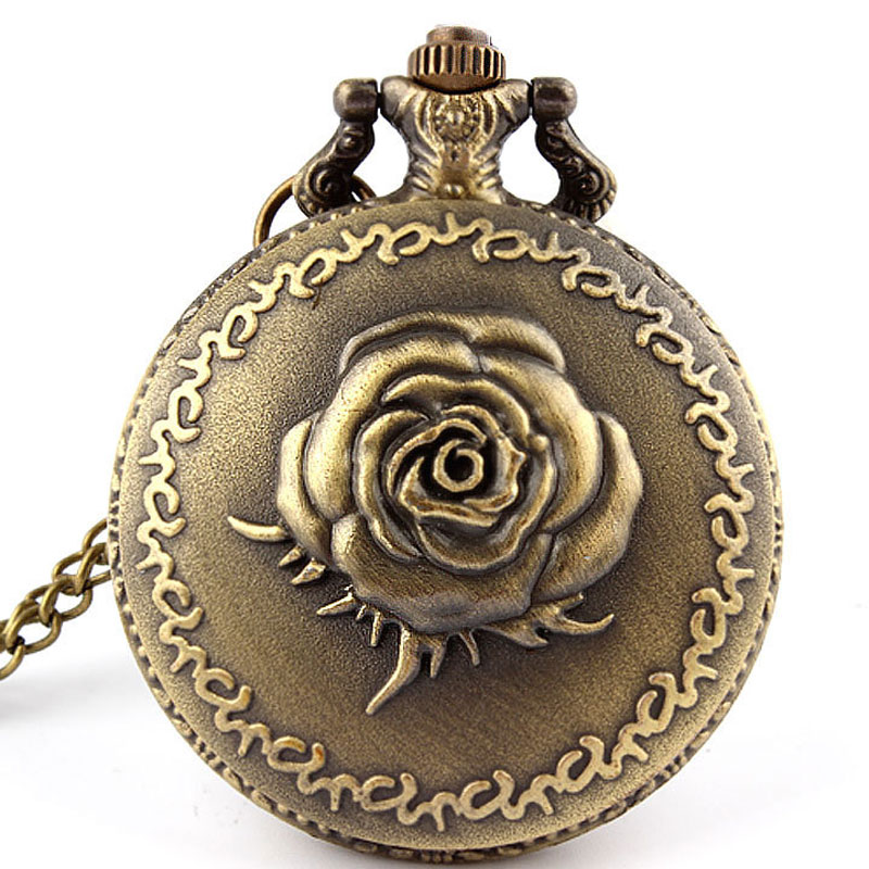 Vintage Bronze Quartz Rose Pocket Watch Necklace