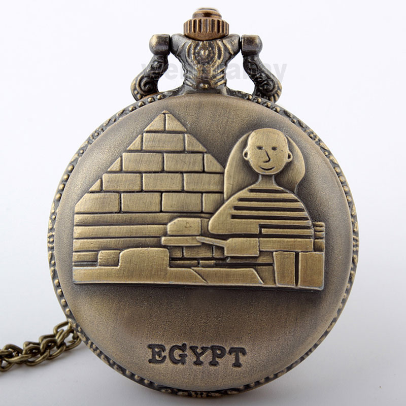 New Arrival Retro Bronze EGYPT Pyramid Pocket Watch Necklace