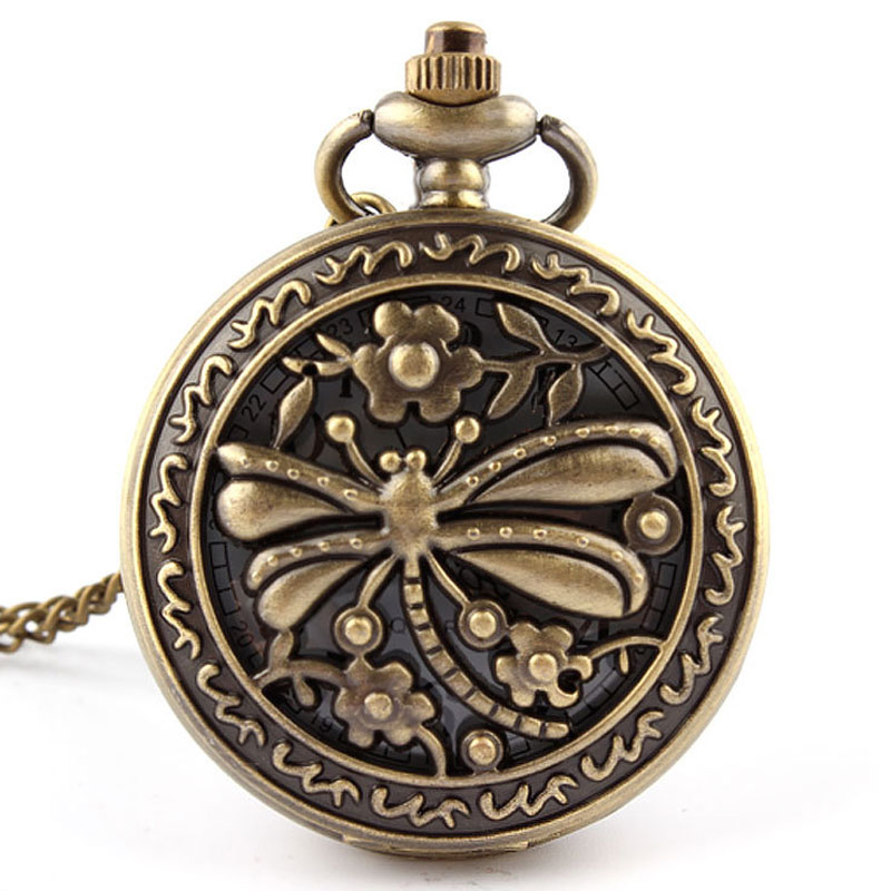 Antique Bronze Hollow Dragonfly Quartz Pocket Watch