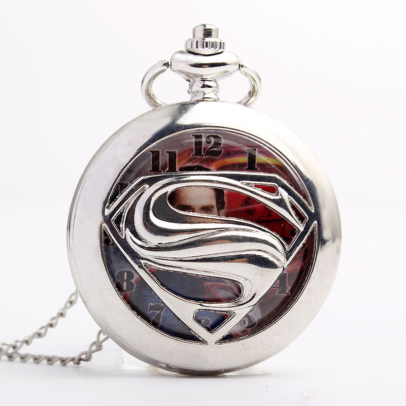 Superman Cartoon Popular Retro Bronze Quartz Pocket Watch