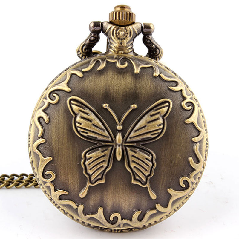 Bronze Butterfly Quartz Pocket Watch Necklace