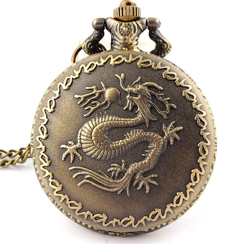 Chinese Zodiac Bronze Dragon Pendant Pocket Watch