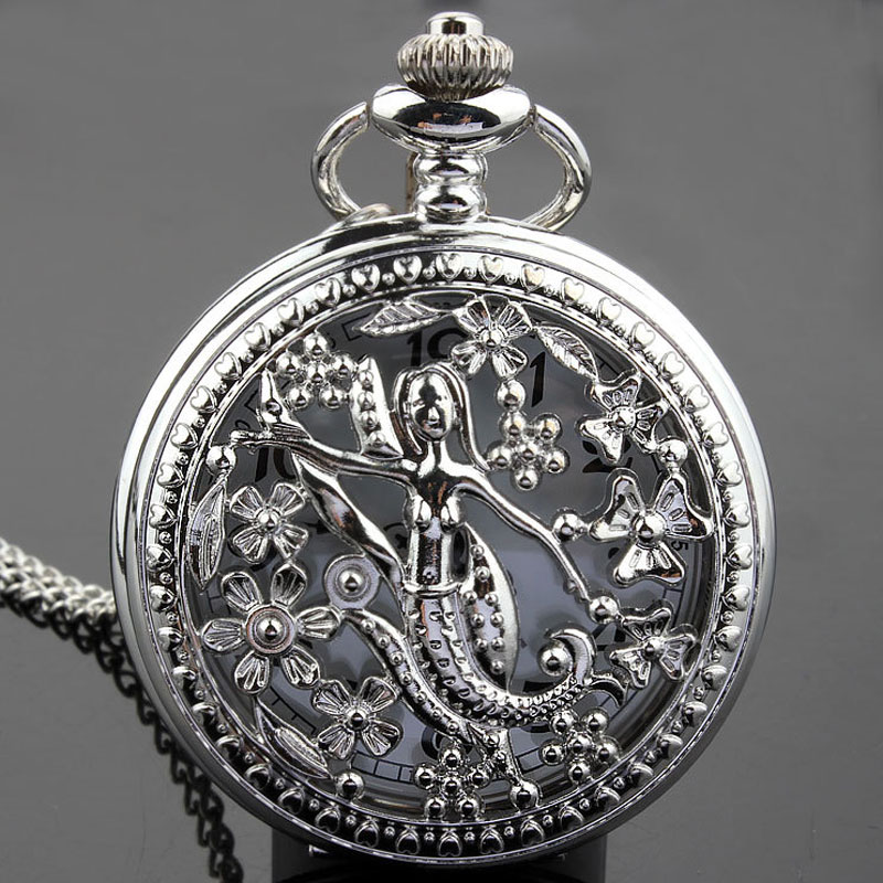 Exquisite Hollow The Little Mermaid Vintage Pocket Watch