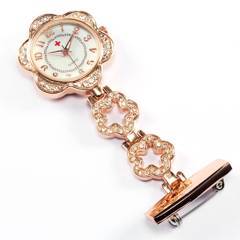 Fashion Nurses Clip-on Flower Brooch Pocket Watch