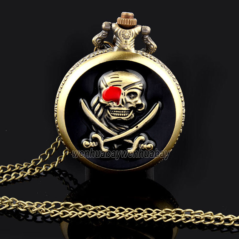Vintage Quartz Bronze Pirates Skull Pocket Watch