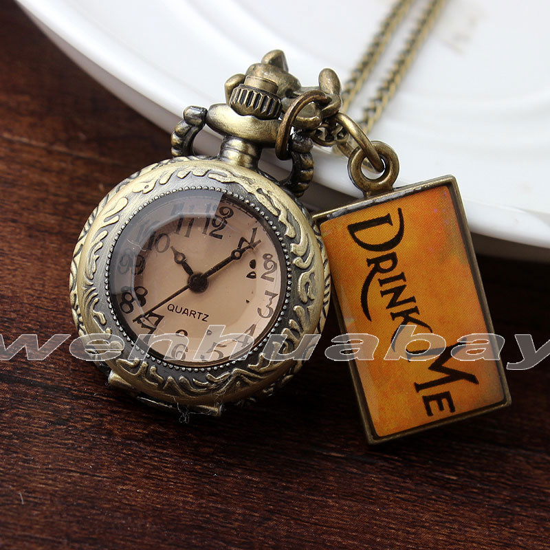 Retro Quartz DRINK ME Alice In Wonderland Pocket Watch