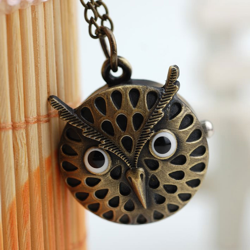 Antique Alloy Owl Quartz Pocket Watch Necklace
