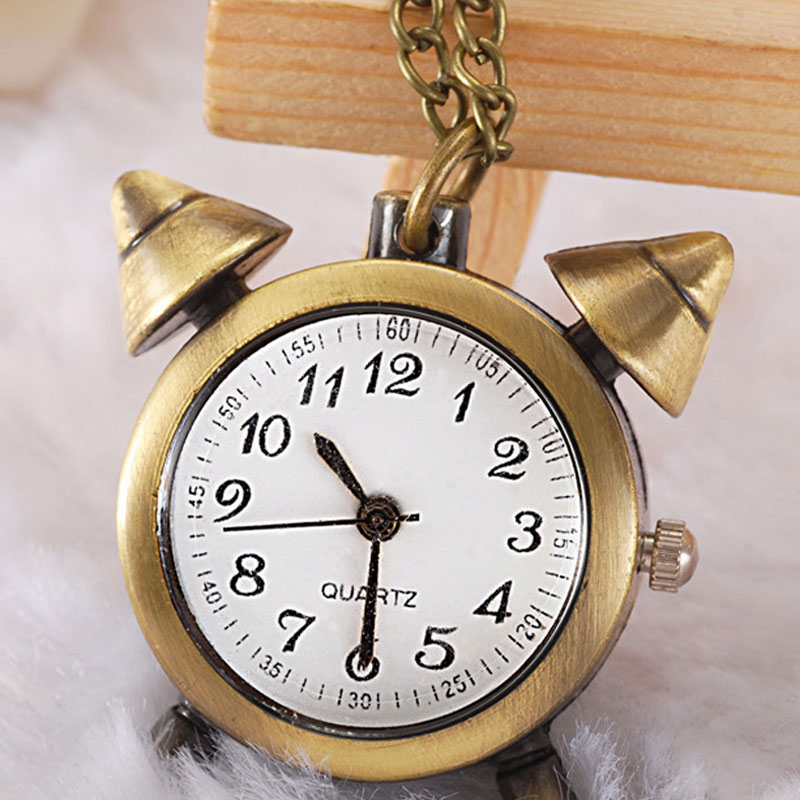 Antique Alloy Personality Alarm Clock Pocket Watch