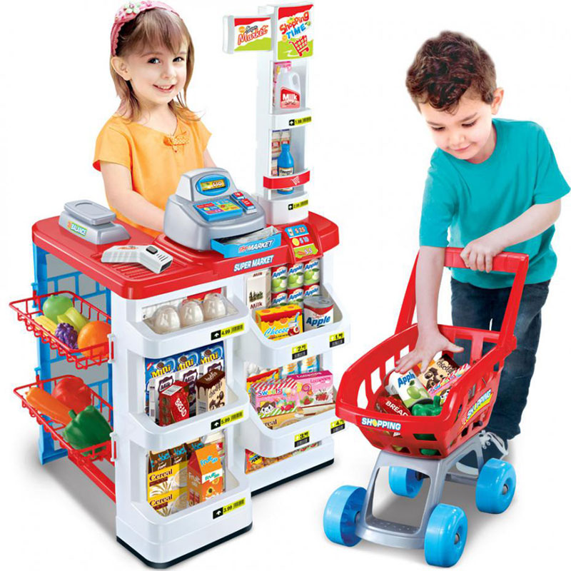 Kids Pretend Play Toy Simulation Cash Register And Shopping Cart