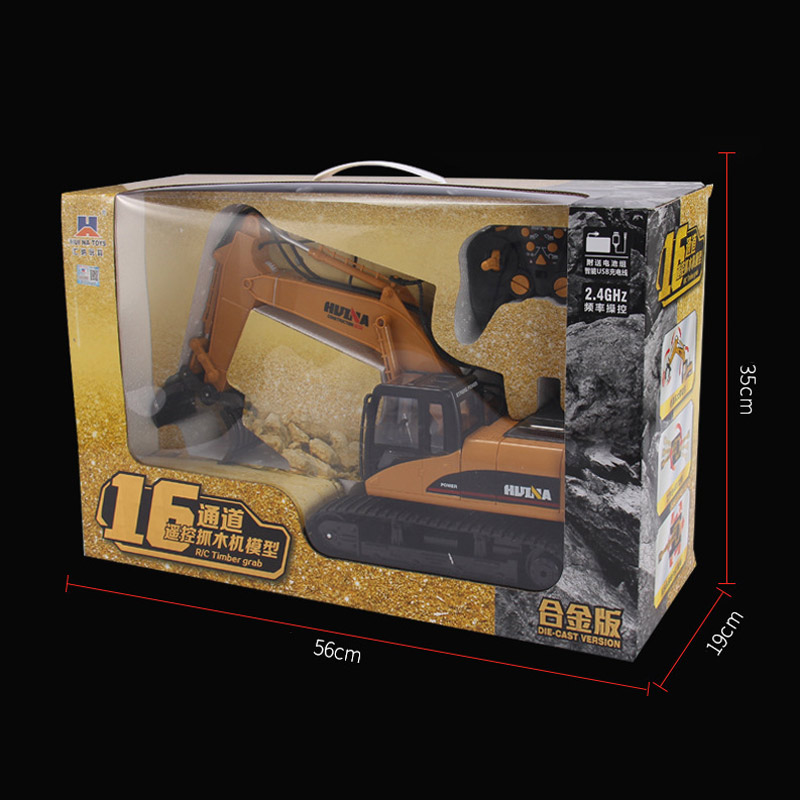 Huina 16 Channels 2.4G Remote Control Timber Grab Excavator Engineering Truck
