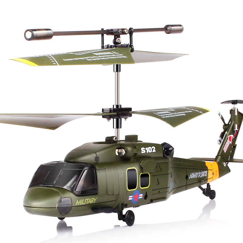 Syma S102G Military 3CH Gyro LED Indoor RC Attack Helicopter Shatterproof Radio Remote Control Kids Toys Green