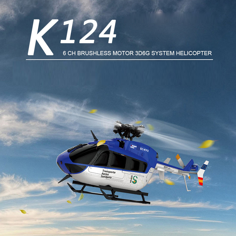 XK K124 Single Blade Remote Control 6CH Helicopter Copter High Speed