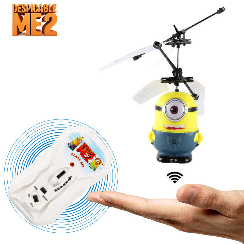 Mini Yellow One Cartoon 2 Channels RC Helicopter With Light  For Kids Toys Gift