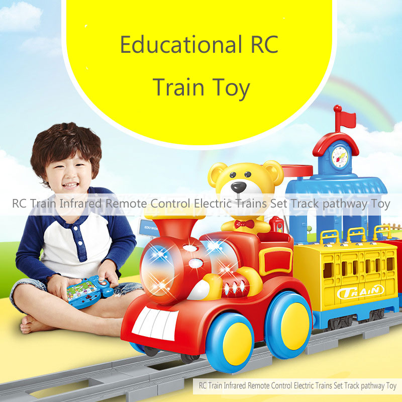 RC Train Infrared Remote Control Educational Electric Trains Set Track Pathway Toy