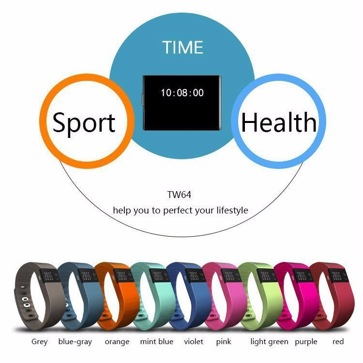 TW64 Fitness Tracker Bluetooth Smart Wristband Remote Camera Call Reminder